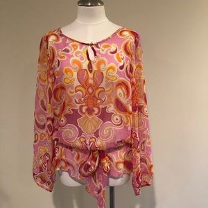 Lilly Pulitzer sheer long sleeve blouse